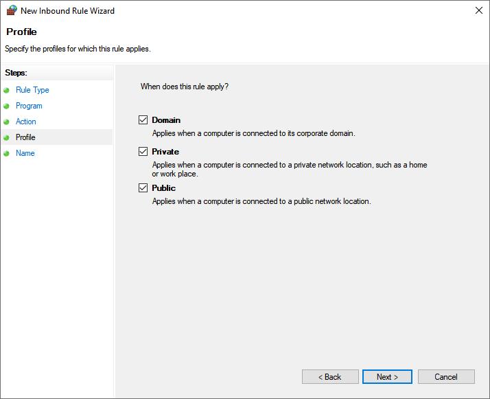 Windows Defender Firewall Profile
