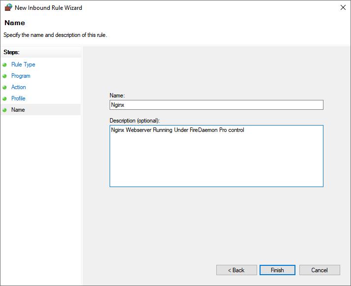 Windows Defender Firewall Rule Name