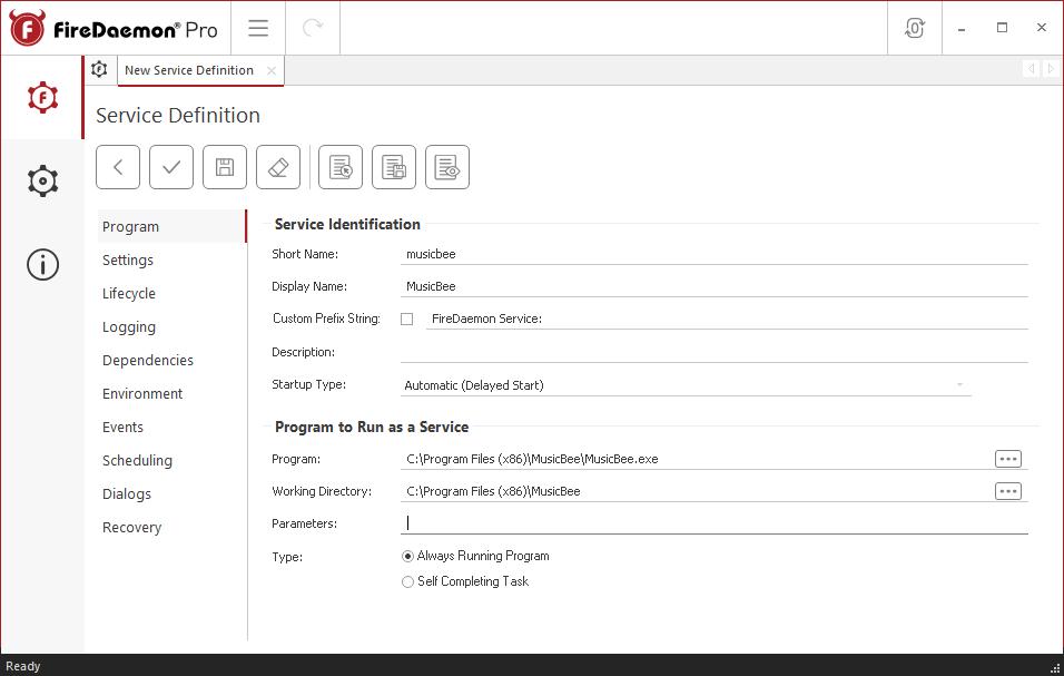 FireDaemon Pro MusicBee Dedicated Server Service Program Tab