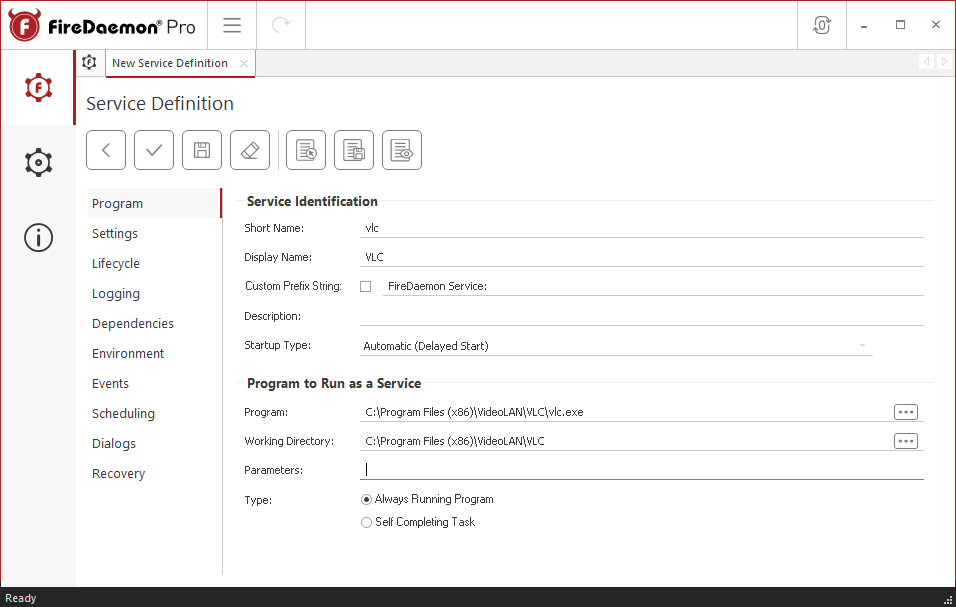 FireDaemon Pro VLC Media Player Dedicated Server Service Program Tab