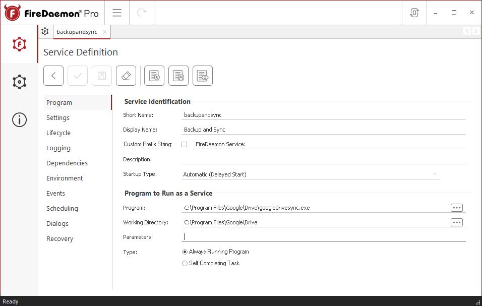 FireDaemon Pro Google Backup and Sync Dedicated Server Service Program Tab