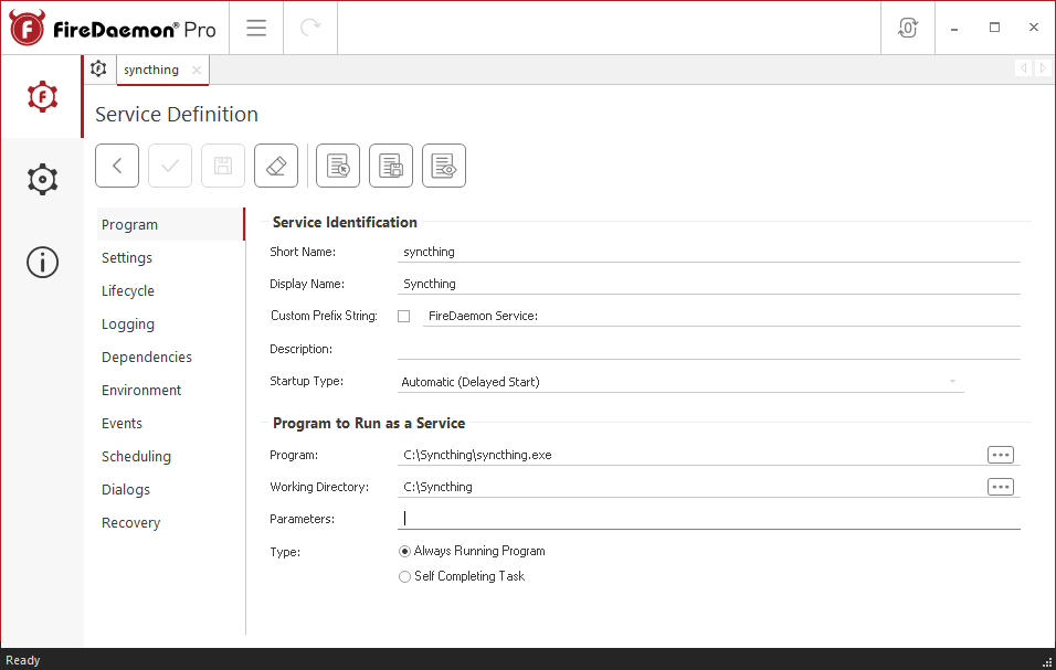 FireDaemon Pro Syncthing Dedicated Server Service Program Tab
