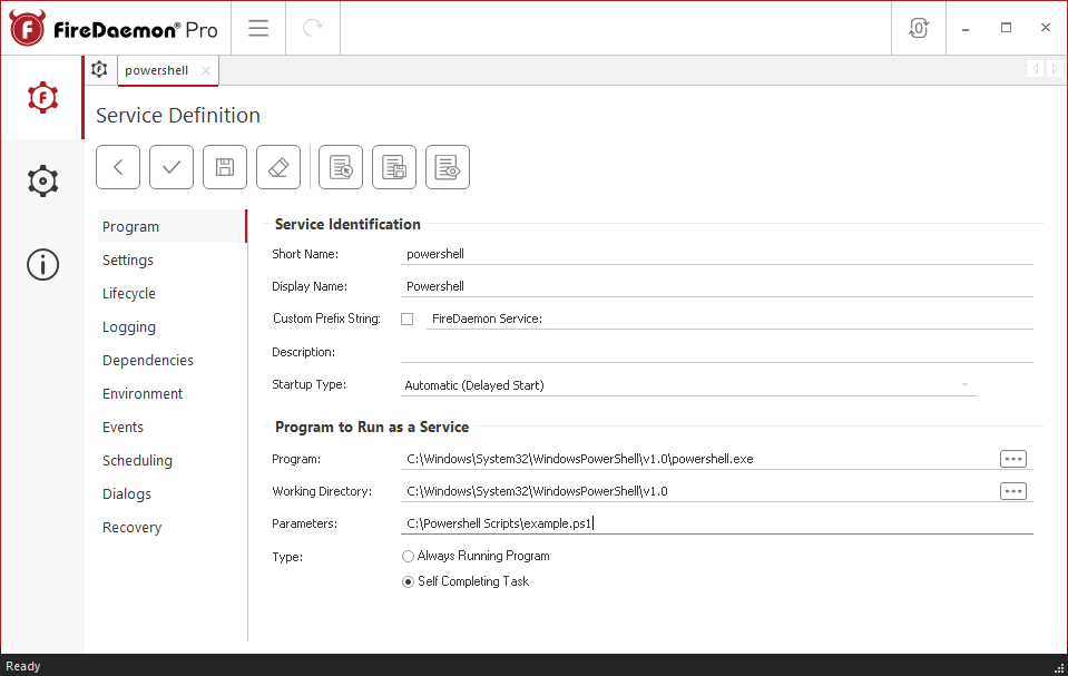 FireDaemon Pro Powershell Dedicated Server Service Program Tab