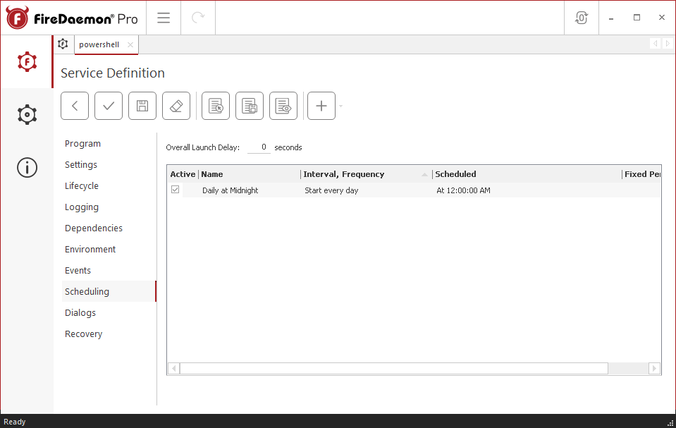FireDaemon Pro Powershell scheduling settings