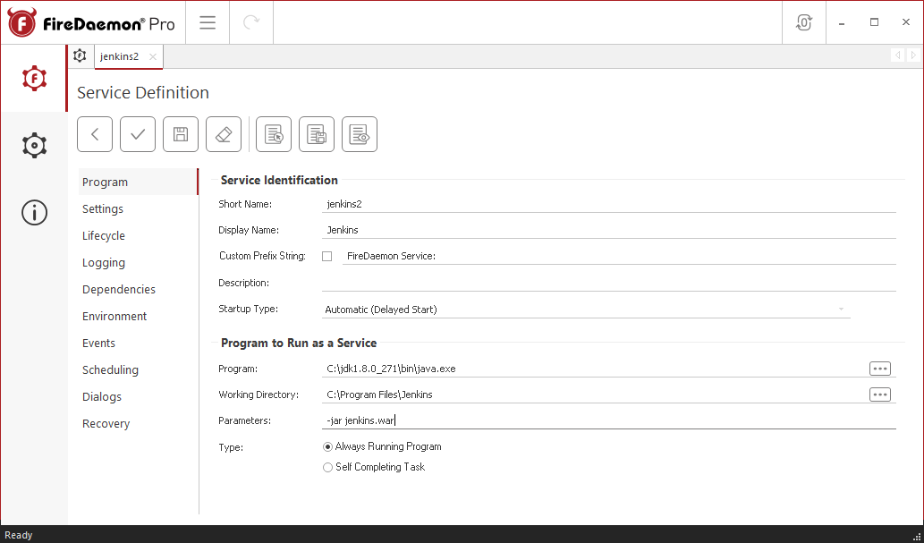 FireDaemon Pro Jenkins Dedicated Server Service Program Tab