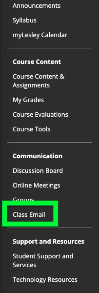 click the class email link in your course menu