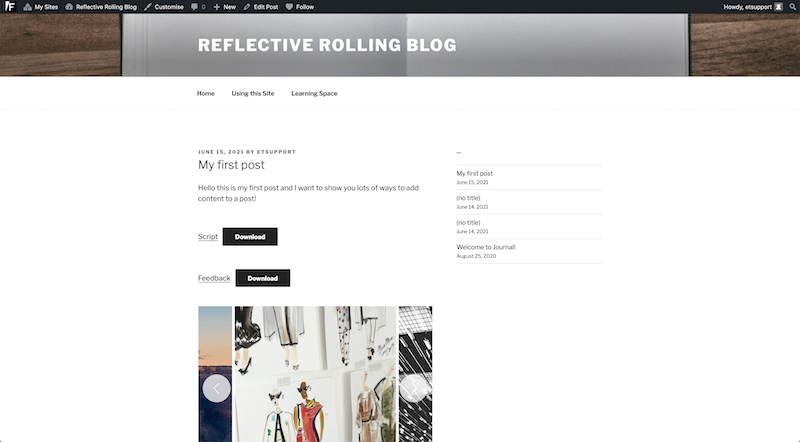 An example of an online Portfolio template.