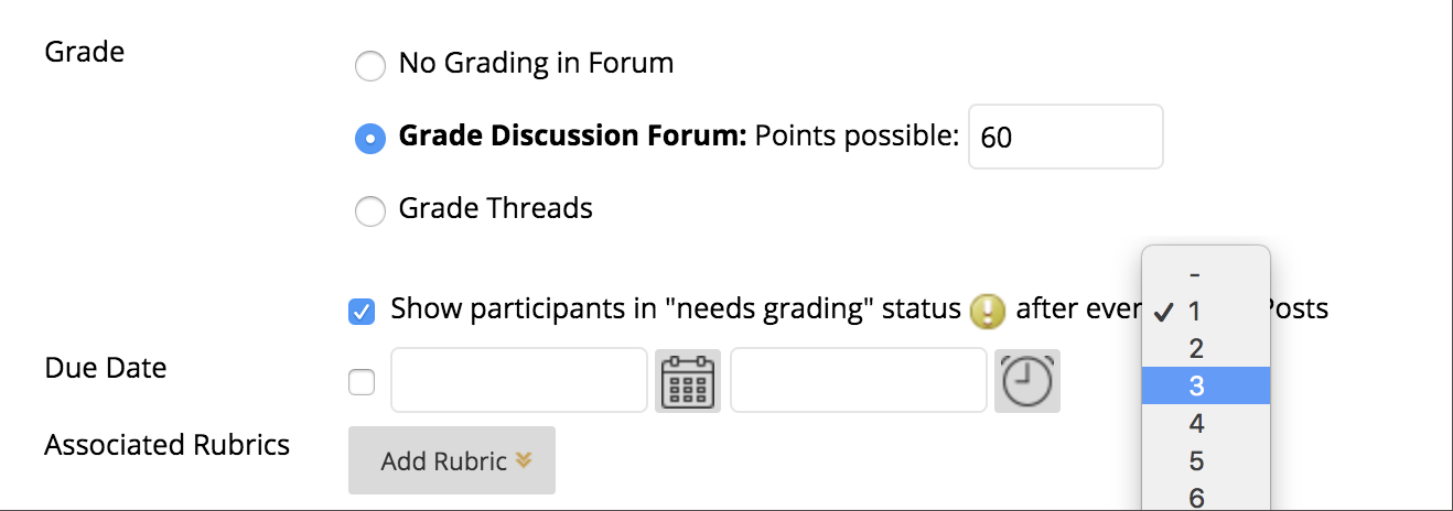 """grade options include showing participants in """"needs grading"""", adding a due date, and associating rubrics"""