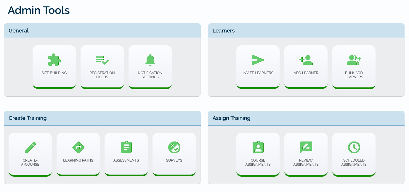 The Admin Tools page showing the Surveys button in the Create Training section.