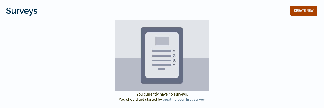 The initial Surveys page with a Create New button in the top right corner.