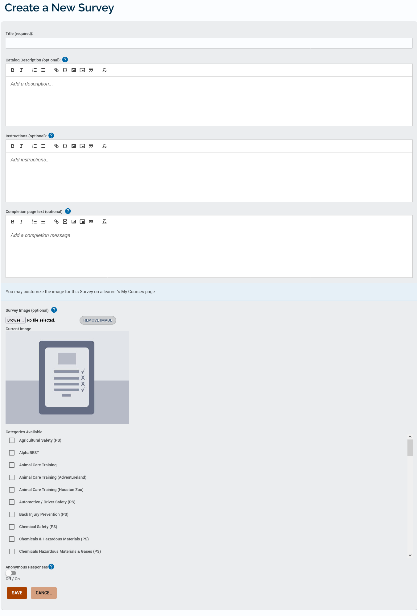Example Create a New Survey page listing the fields mentioned previously.