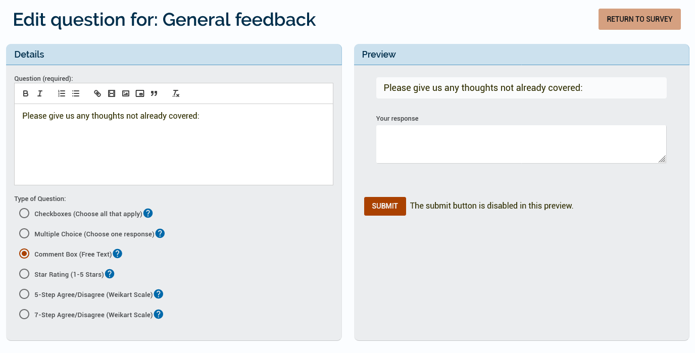 An example of a comment box which asks the learner their thoughts on anything not already covered.