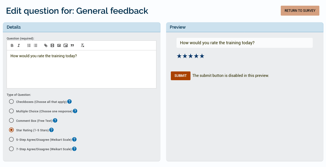 An example of a star rating which asks how the learner would rate the training today.
