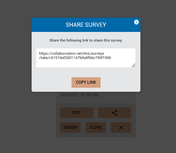 The share survey dialog which shows how easy it is to copy the link to the individual survey.