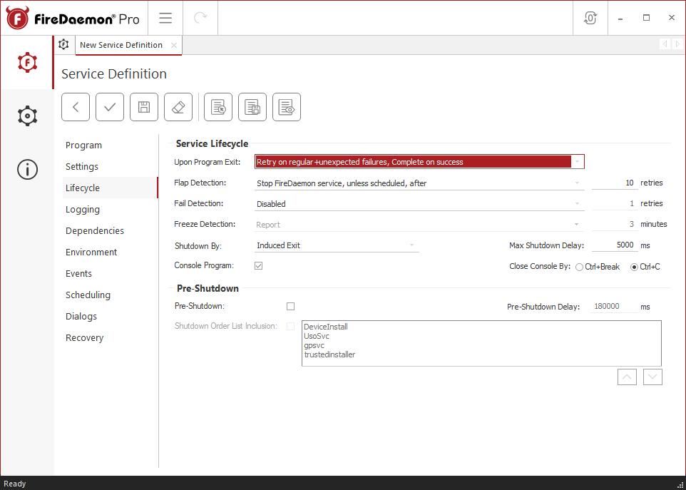 FireDaemon Pro Rust Dedicated Server Service Lifecycle Tab
