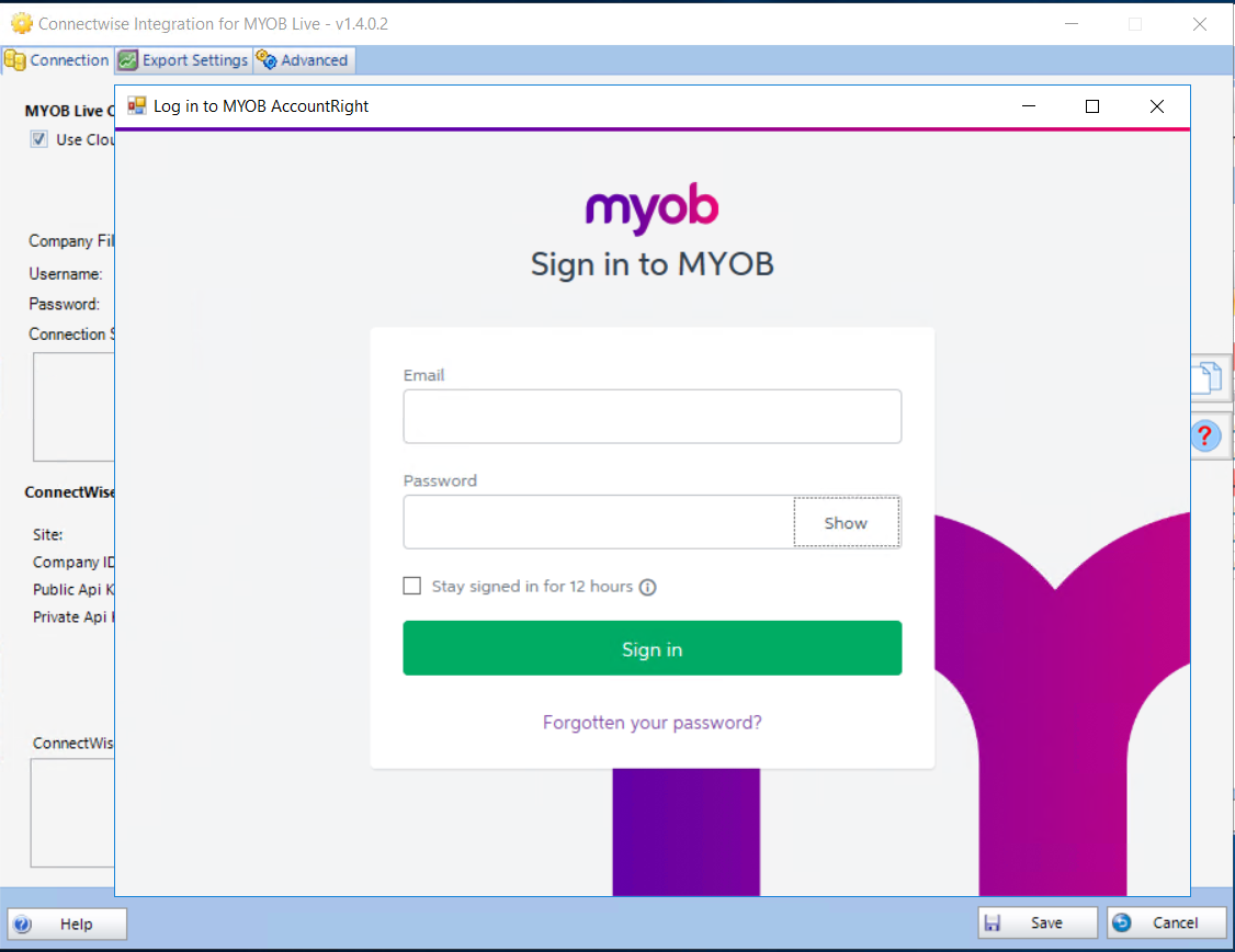 Configuration - Connectwise Integration for MYOB