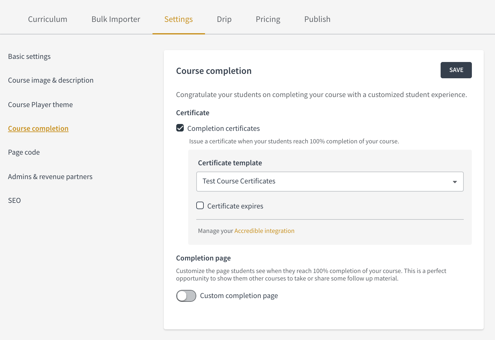 Issue Course Completion Certificates Through Accredible Thinkific