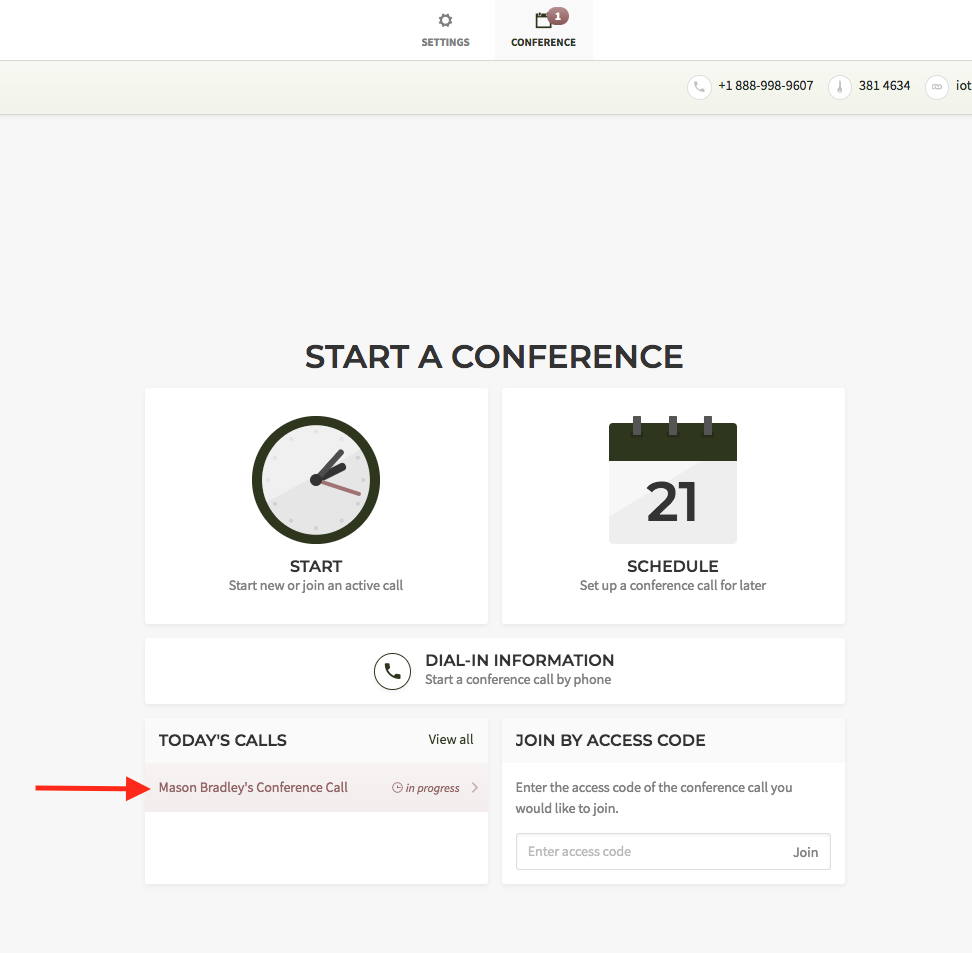 Start a scheduled conference call