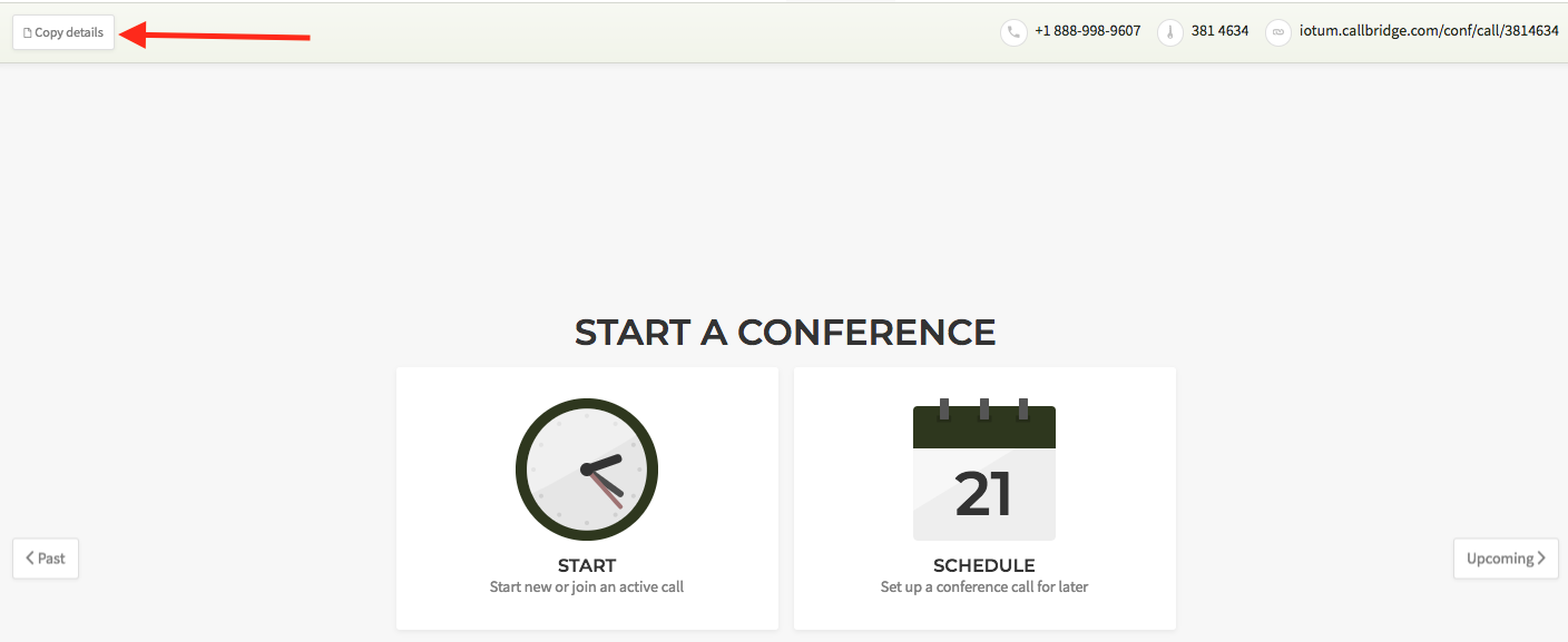 Copy web conference call details