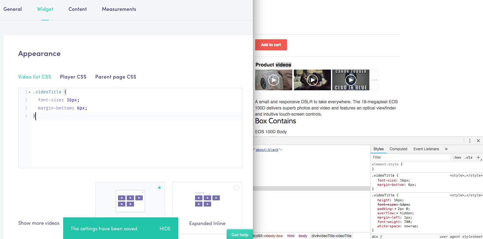 Modifying CSS : Videoly