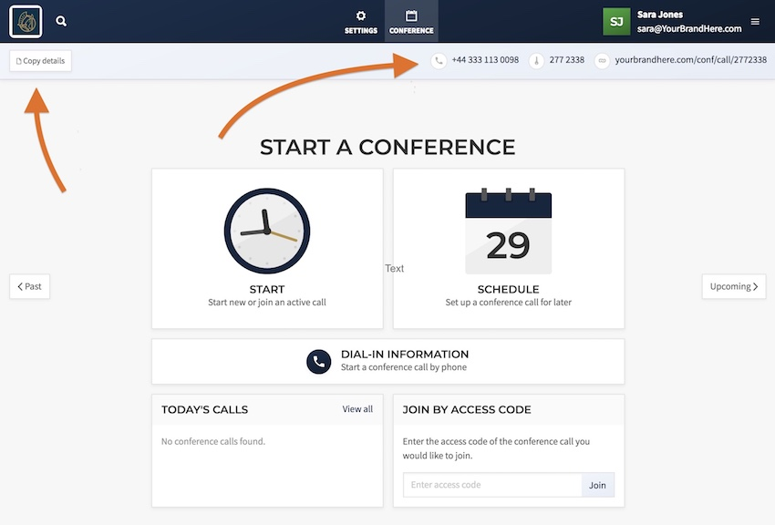 Conference Details Dial-in Number Access Code
