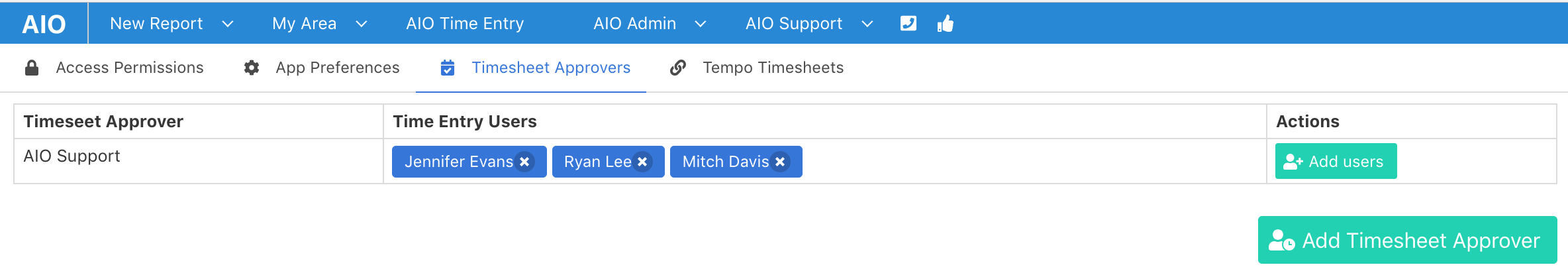 how does timesheet approval work aio support