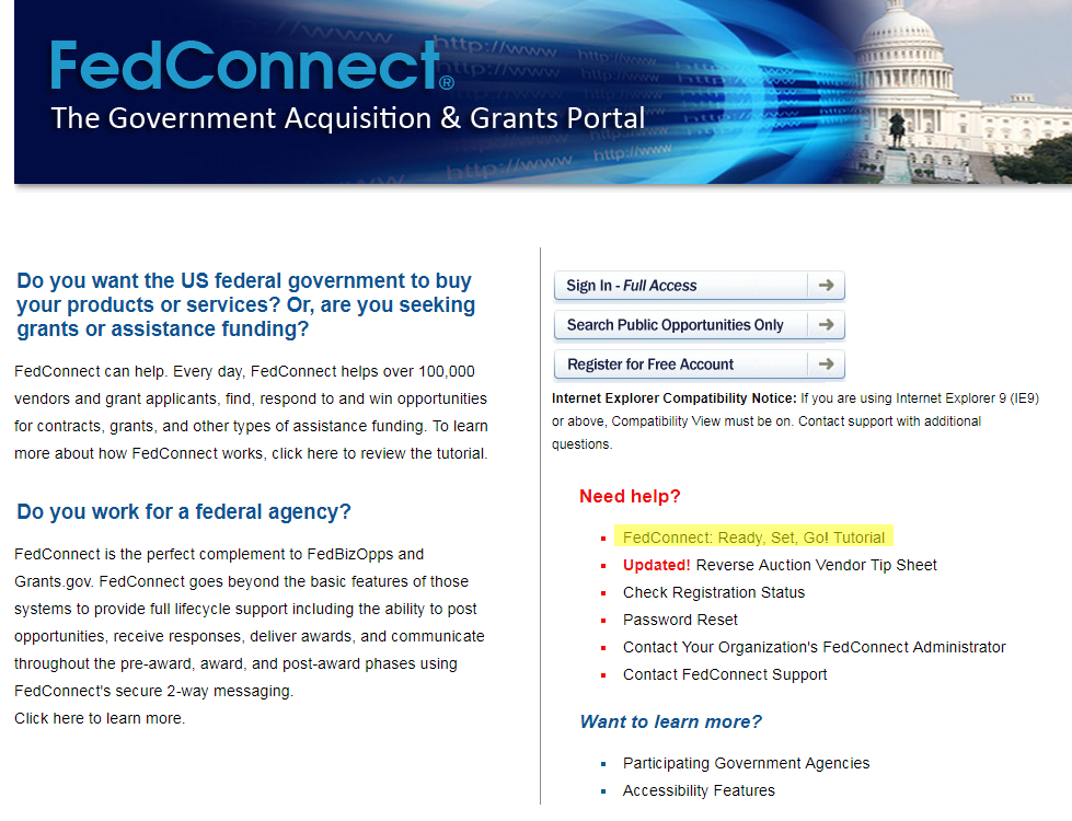 FedConnect home page