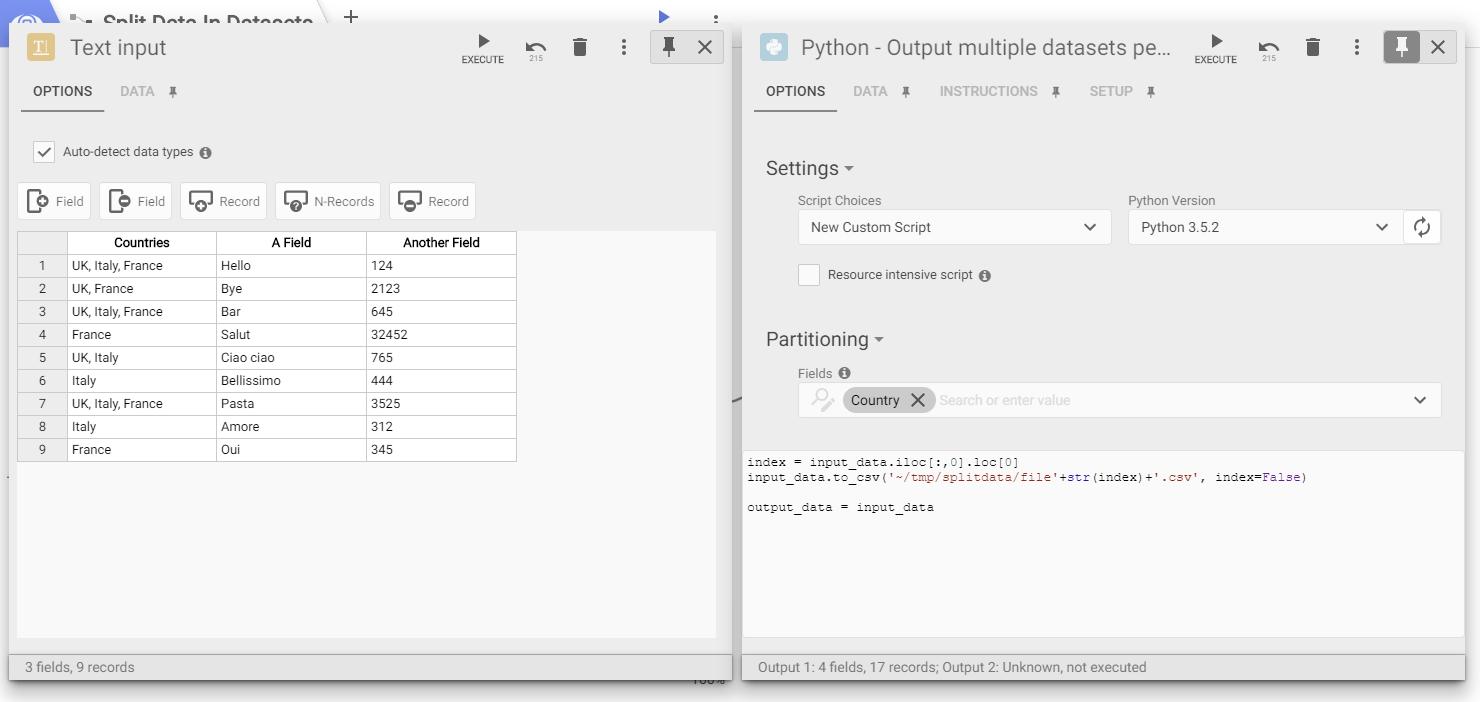 split data in multiple datasets : Omniscope Help Center