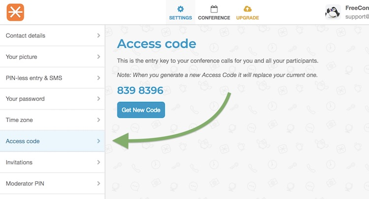 FreeConference Change Access Code