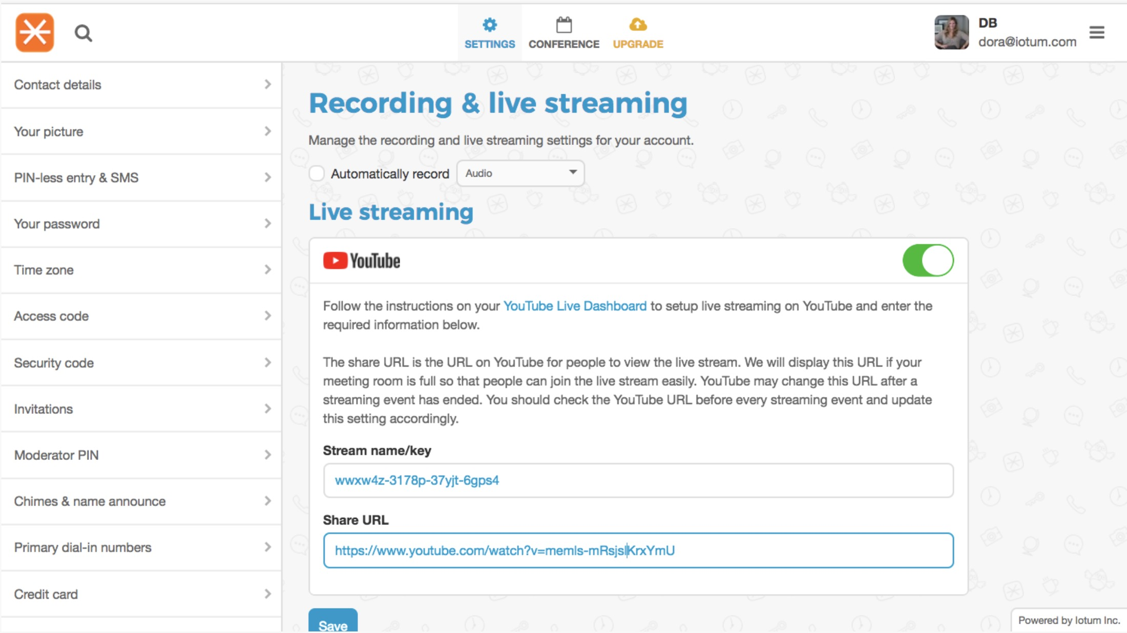 YouTube Streaming FreeConference