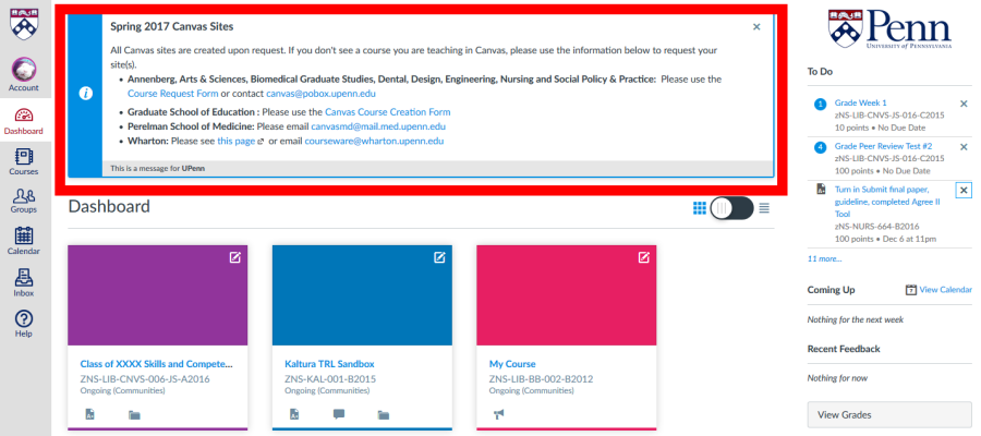 Canvas User Dashboard with system-wide announcement outlined in a thick red square.