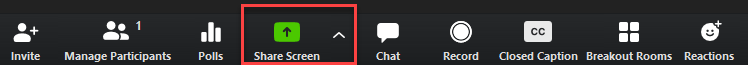 "The ""Share Screen"" button appears in the Zoom control panel between ""Polls"" and ""Chat."""