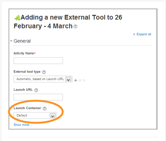This is an annotated screenshot highlighting the Launch Container selection field in the Moodle External Tool General Settings window.
