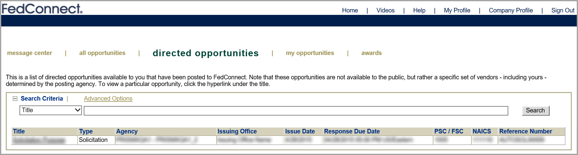 Picture of the Directed Opportunities page in FedConnect