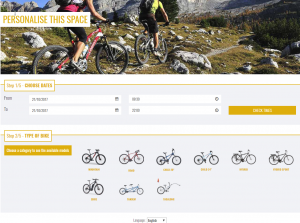 bike rentals with Facebook Book Now button