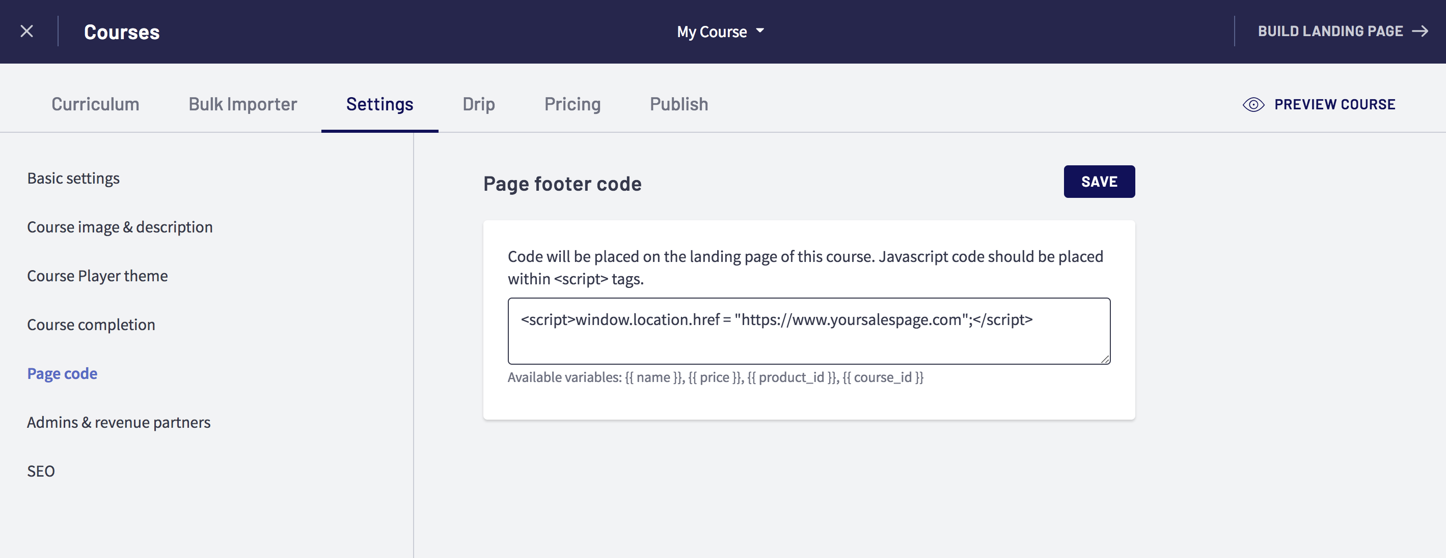 Redirect Course Landing Page to an External Sales Page : Thinkific