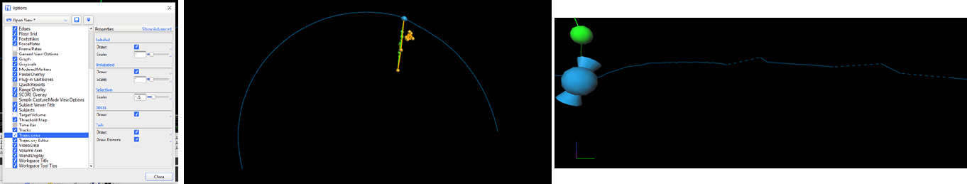 Left: The view Options menu (F7 or Window>Options). Centre: Example of a complete trajectory and the 'tails' Vicon Nexus displays. Right: an incomplete trajectory with gaps identified by a broken blue line.
