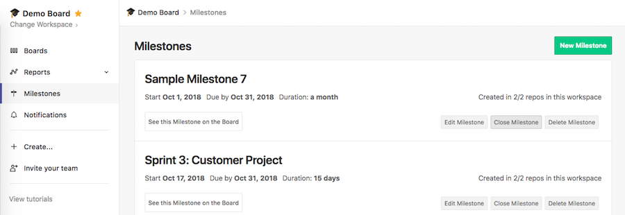 ZenHub milestones page