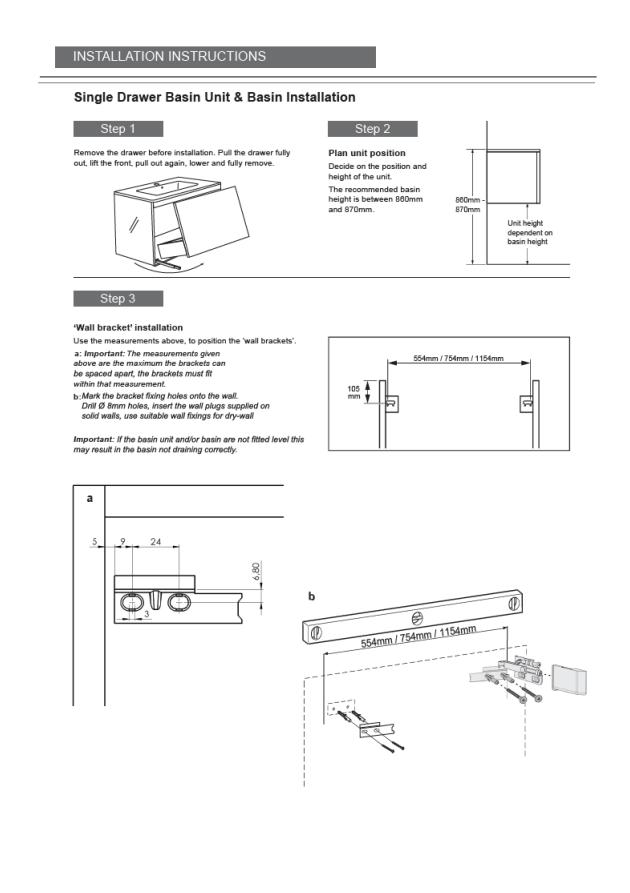 Kai Single Drawer Basin Unit and Basin Installation :