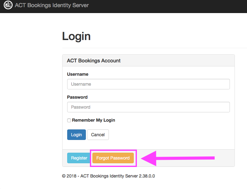 Resetting a Password : Sportsground Booking Support