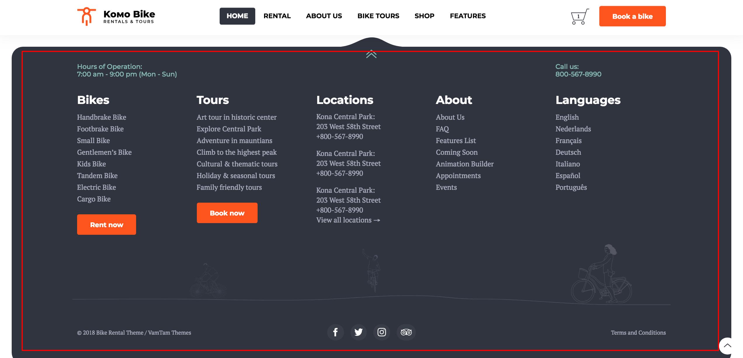 Komo Rentals Tours Bike Wordpress Theme How To Edit The Footer