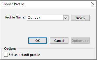 Accept default setting of Outlook in Choose Profile dialog box