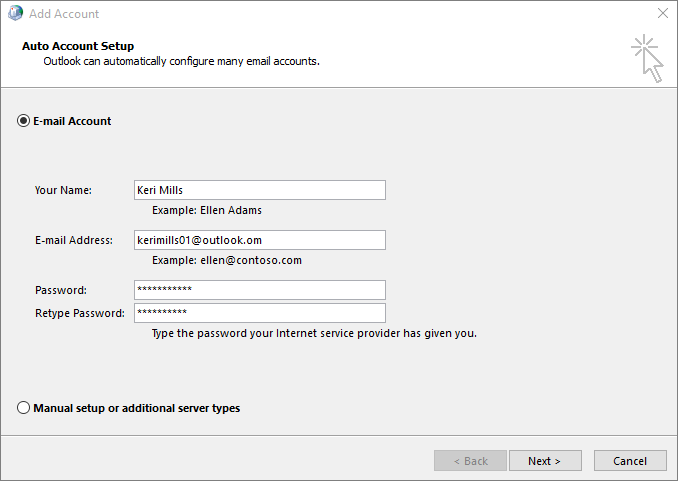 Use Auto Account Setup to add email account as part of newly created profile for Outlook