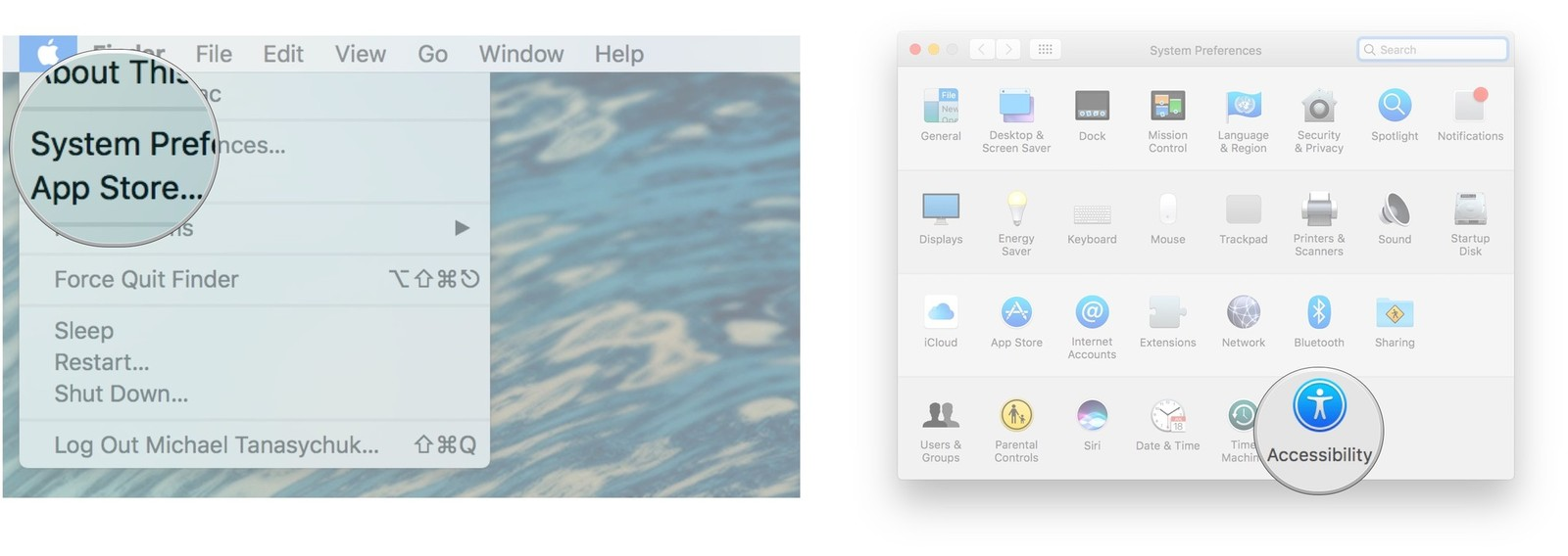 Click System Preferences, click Accessibility
