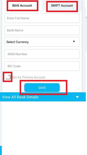 Add Bank Details (Mobile App) : CBANX LTD