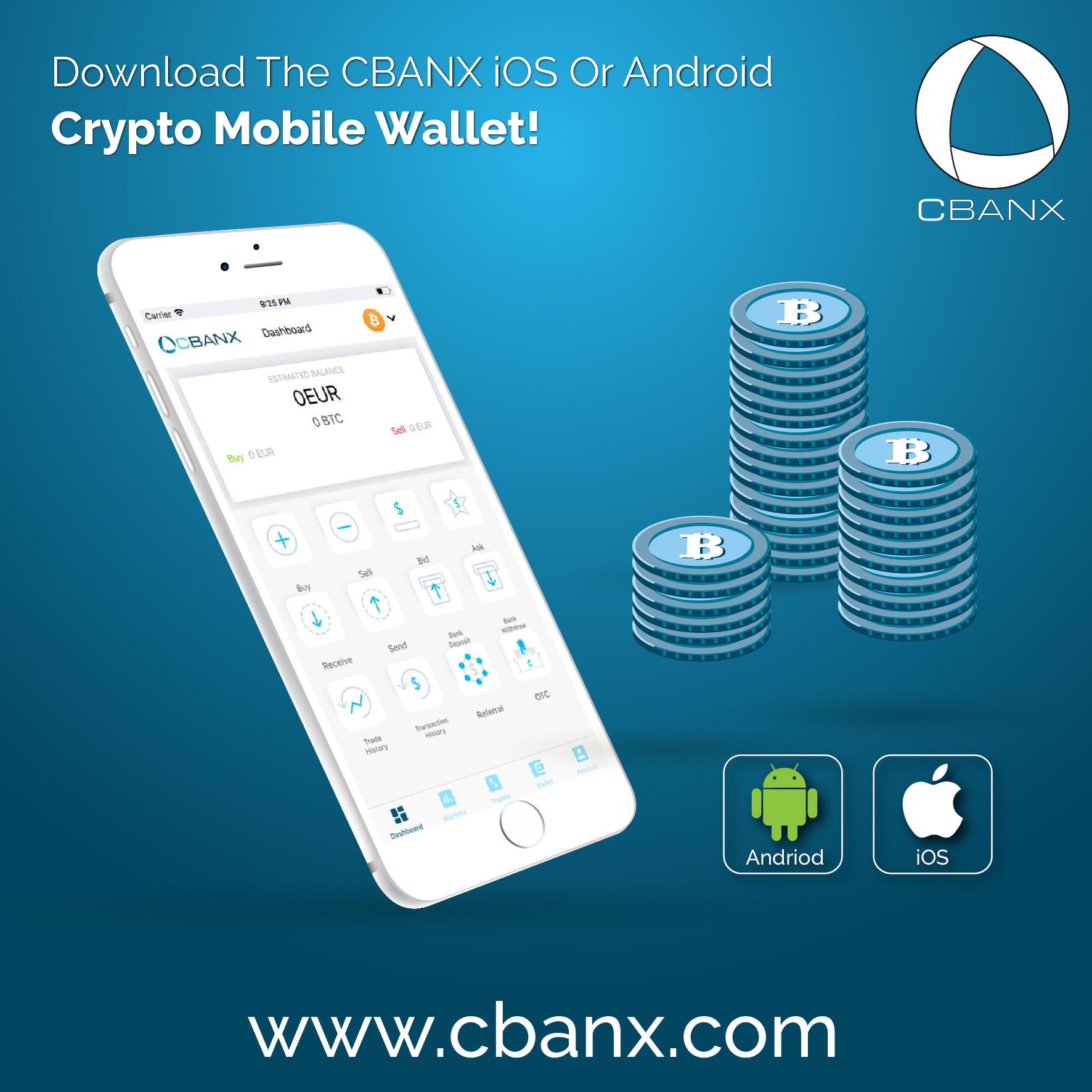 Download The CBANX iOS Or Android Crypto Mobile Wallet!