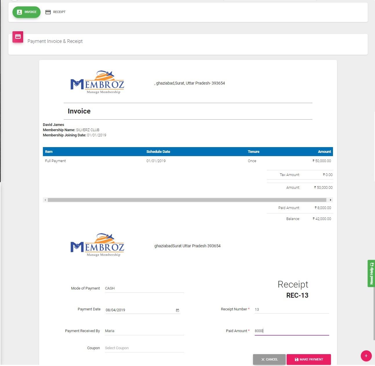 payment invoice & receipt