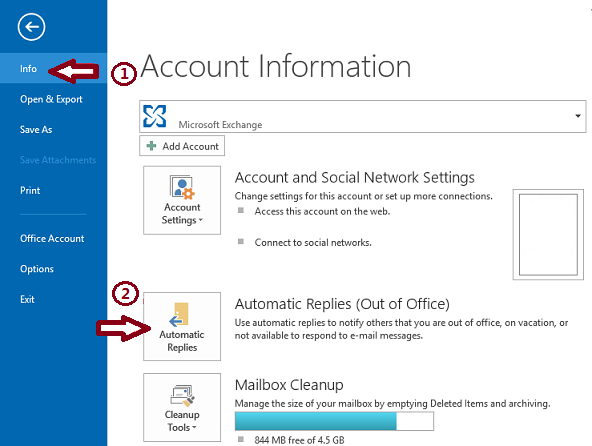 2.Click Automatic Replies (Out of Office).