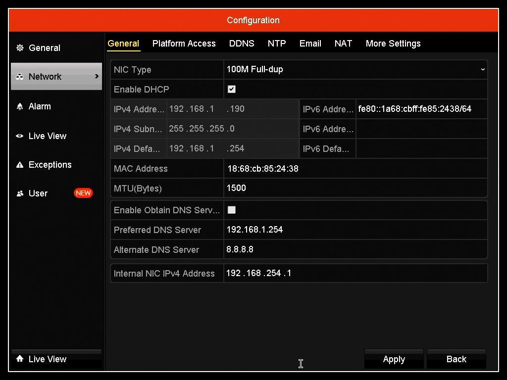 Hikvision configuration screen