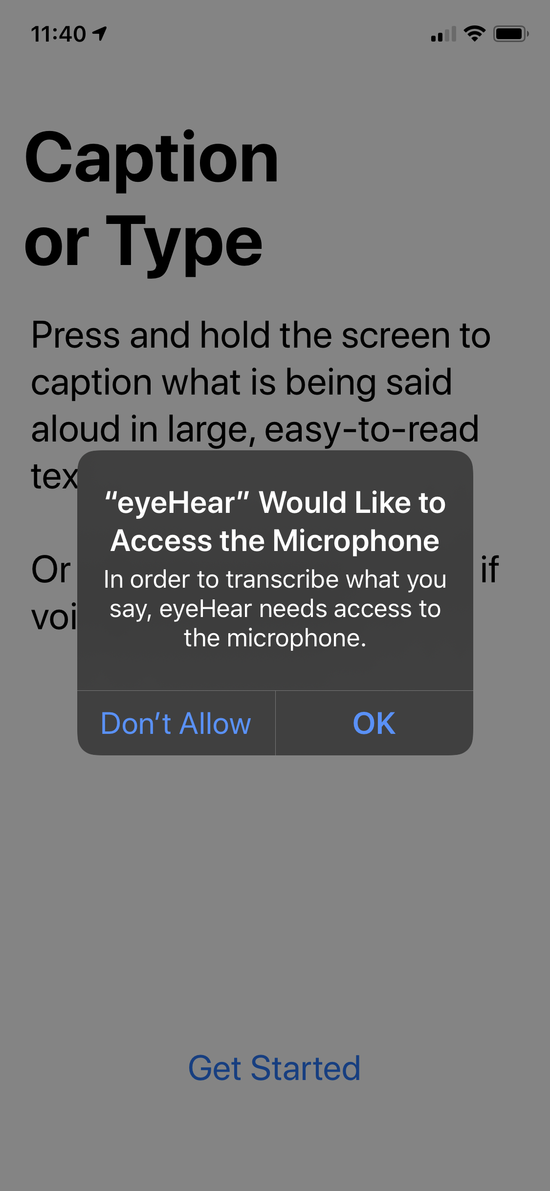 iOS Microphone Access Request Dialogue